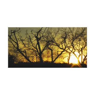 Mystical sundown stretched canvas print