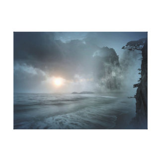 Mystical Sunset on Beach Ocean Cliff Scene Artwork Canvas Print