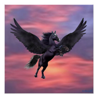 MYSTICAL SUNSET PEGASUS POSTER