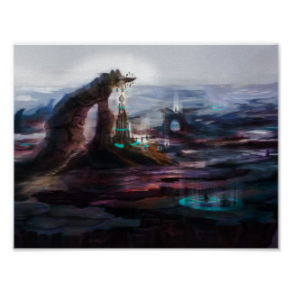 Mystical tower at the mountain poster
