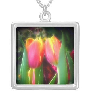 Mystical Tulips Square Pendant Necklace