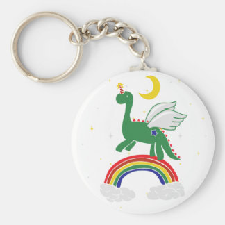 Mystical Winged Dinosaur Basic Round Button Key Ring