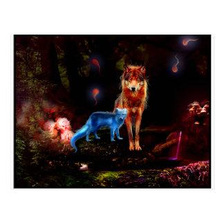 Mystical Wolf and Fox Postcard