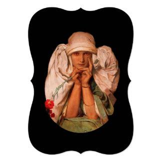 Mystical Woman with Carnation 13 Cm X 18 Cm Invitation Card