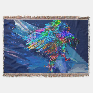 Mythical Crayon Colored Killer Eagle Throw Blanket
