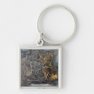 Mythical Forms Silver-Colored Square Key Ring