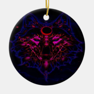 Mythical Neon Blue Wolf Ceramic Ornament