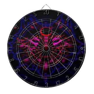 Mythical Neon Blue Wolf Dartboard