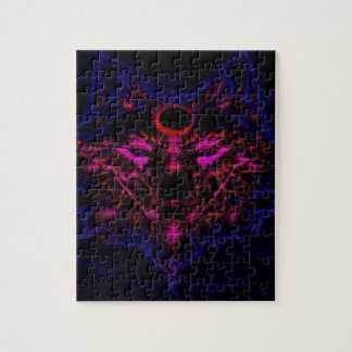 Mythical Neon Blue Wolf Jigsaw Puzzle