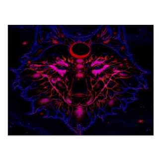 Mythical Neon Blue Wolf Postcard