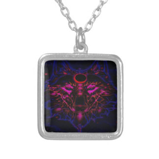 Mythical Neon Blue Wolf Silver Plated Necklace