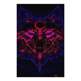 Mythical Neon Blue Wolf Stationery