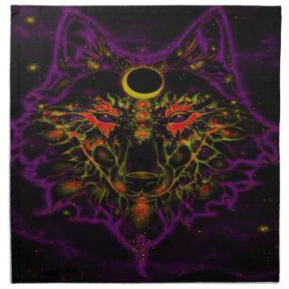 Mythical Neon Purple Wolf Napkin