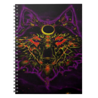 Mythical Neon Purple Wolf Notebook