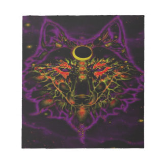 Mythical Neon Purple Wolf Notepad