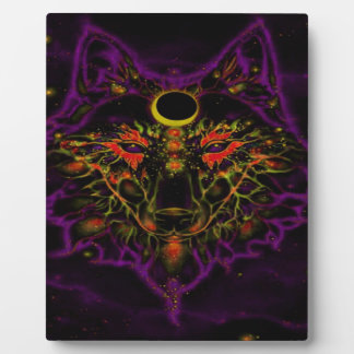 Mythical Neon Purple Wolf Plaque
