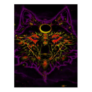 Mythical Neon Purple Wolf Postcard