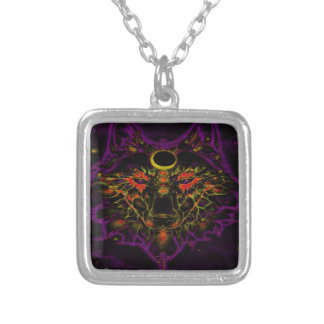 Mythical Neon Purple Wolf Silver Plated Necklace
