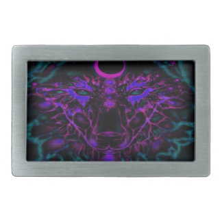 Mythical Neon Teal Wolf Belt Buckles