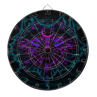 Mythical Neon Teal Wolf Dartboard