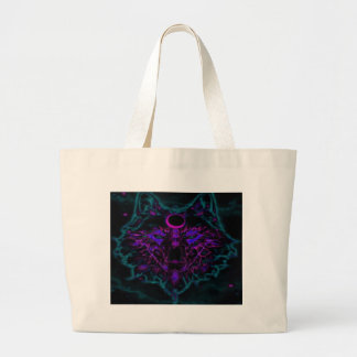 Mythical Neon Teal Wolf Large Tote Bag