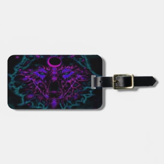 Mythical Neon Teal Wolf Luggage Tag