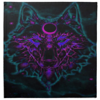 Mythical Neon Teal Wolf Napkin