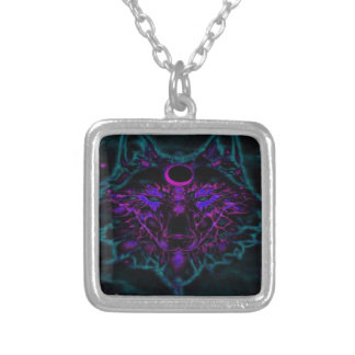 Mythical Neon Teal Wolf Silver Plated Necklace