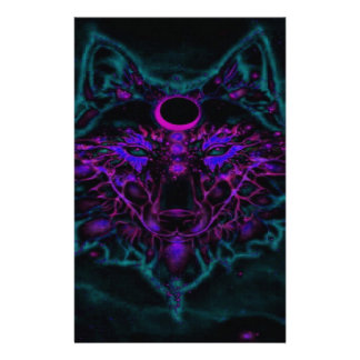 Mythical Neon Teal Wolf Stationery