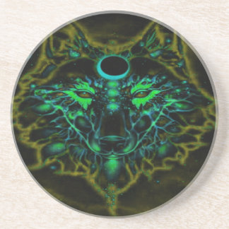 Mythical Neon Yellow Wolf Coaster