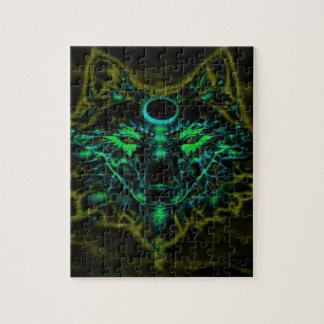 Mythical Neon Yellow Wolf Jigsaw Puzzle