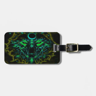 Mythical Neon Yellow Wolf Luggage Tag