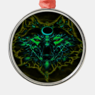 Mythical Neon Yellow Wolf Metal Ornament