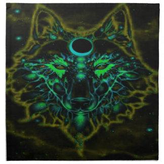Mythical Neon Yellow Wolf Napkin