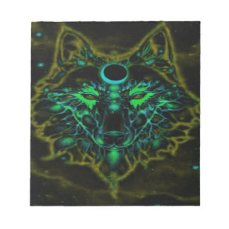 Mythical Neon Yellow Wolf Notepad