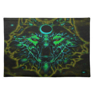 Mythical Neon Yellow Wolf Placemat