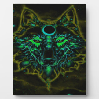 Mythical Neon Yellow Wolf Plaque