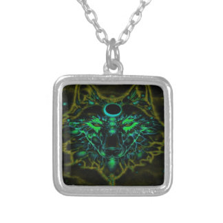 Mythical Neon Yellow Wolf Silver Plated Necklace