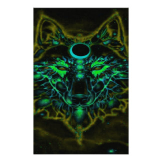 Mythical Neon Yellow Wolf Stationery