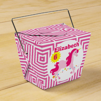 Mythical Pink Unicorn Birthday Party Favor Box