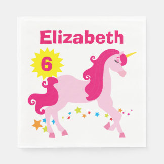 Mythical Pink Unicorn Birthday Party Napkins Paper Napkins