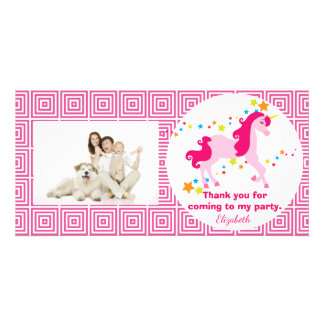 Mythical Pink Unicorn Birthday Party Thank You Photo Card