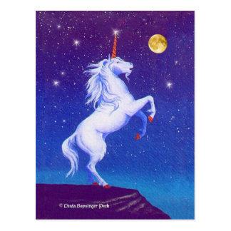 Mythical Unicorn Full Moon Postcard