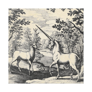Mythical Unicorn in the Forest Canvas Print