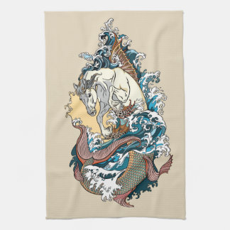 mythological sea horse tea towel