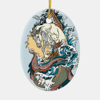 mythological seahorse ceramic ornament