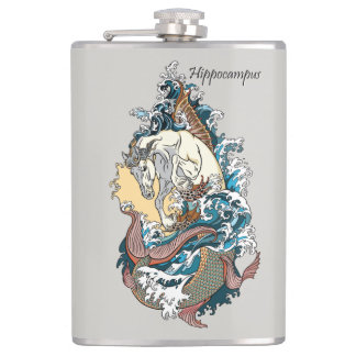 mythological seahorse hip flask