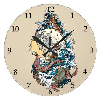 mythological seahorse large clock