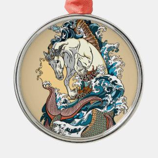 mythological seahorse metal ornament