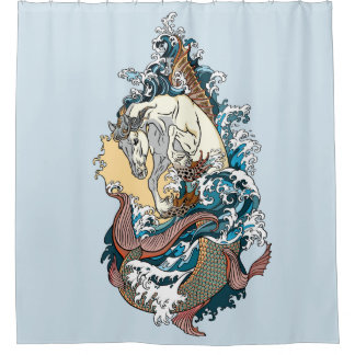 mythological seahorse shower curtain